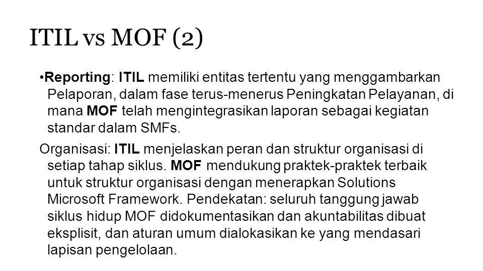 ITIL vs MOF (2)