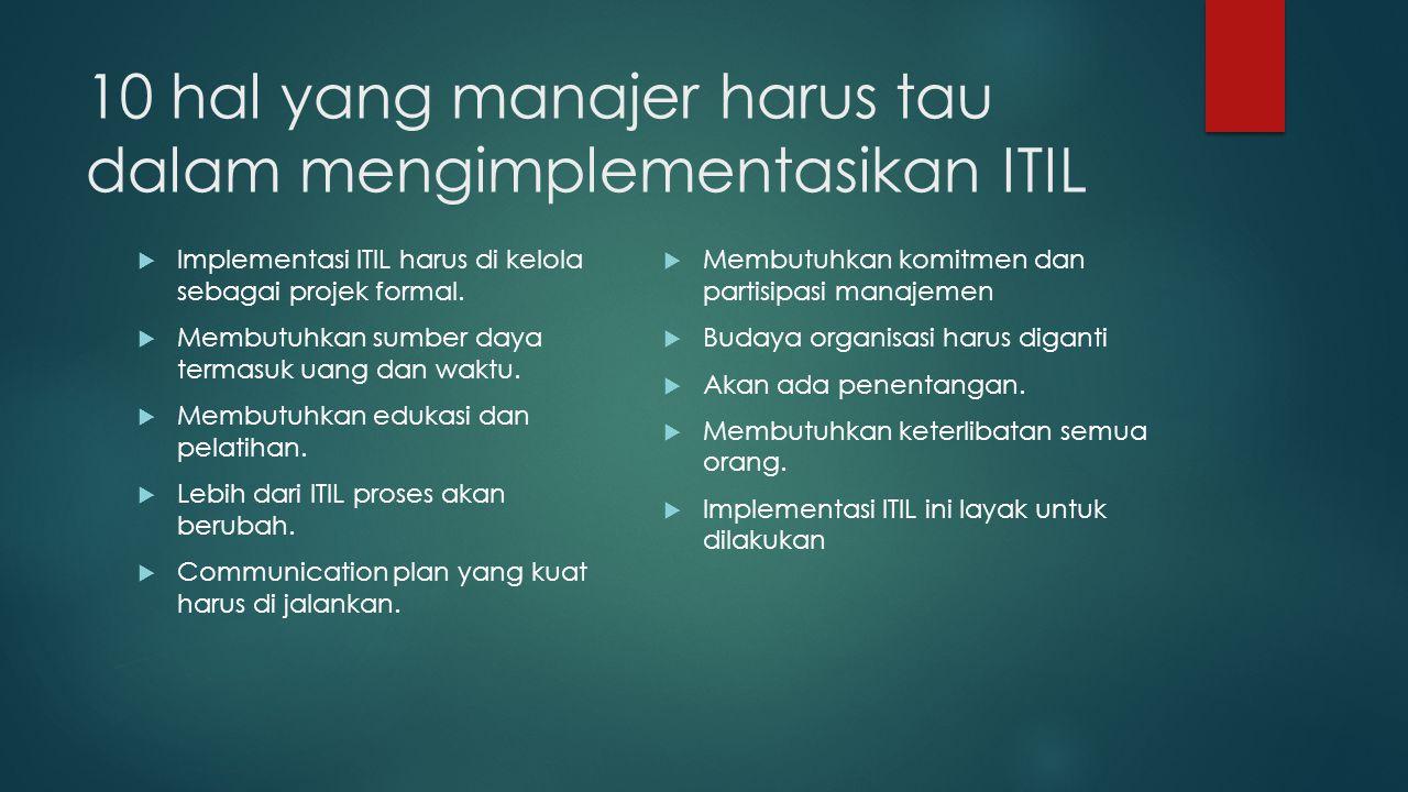 10 hal yang manajer harus tau dalam mengimplementasikan ITIL