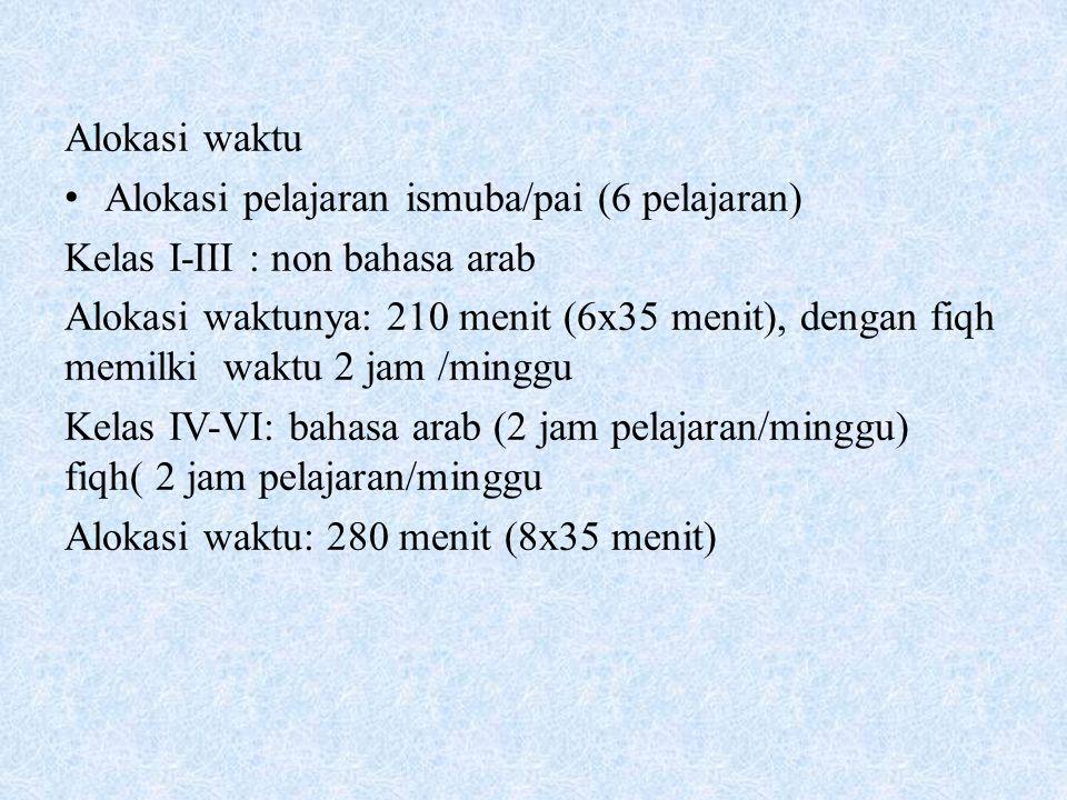 Alokasi waktu Alokasi pelajaran ismuba/pai (6 pelajaran) Kelas I-III : non bahasa arab.