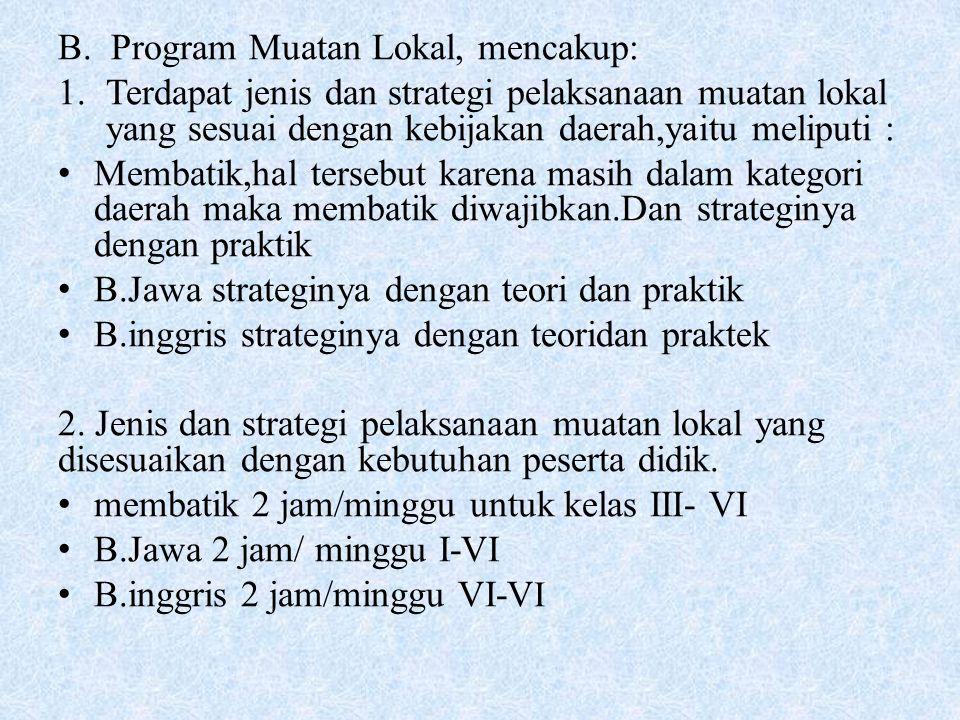 B. Program Muatan Lokal, mencakup: