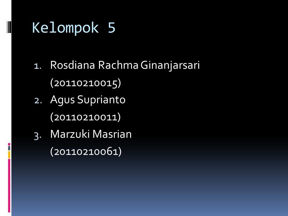 Kelompok 5 Rosdiana Rachma Ginanjarsari (20110210015) Agus Suprianto