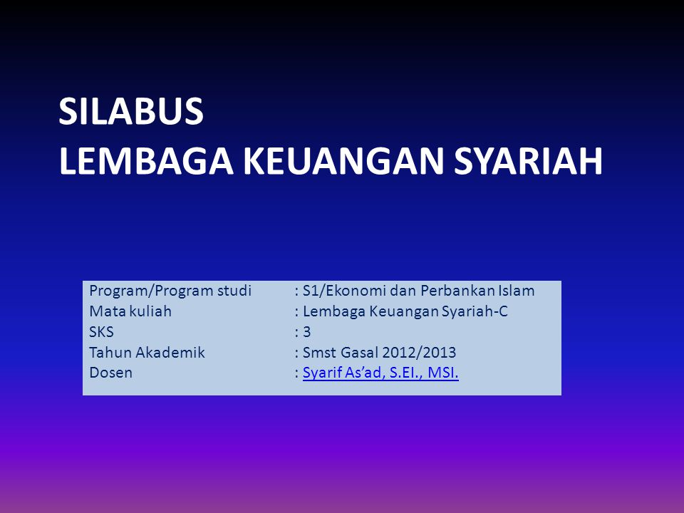SILABUS LEMBAGA KEUANGAN SYARIAH
