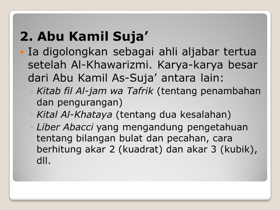 2. Abu Kamil Suja' Ia digolongkan sebagai ahli aljabar tertua setelah Al-Khawarizmi. Karya-karya besar dari Abu Kamil As-Suja' antara lain: