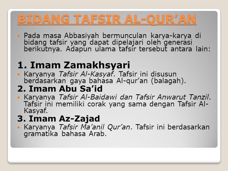 BIDANG TAFSIR AL-QUR'AN