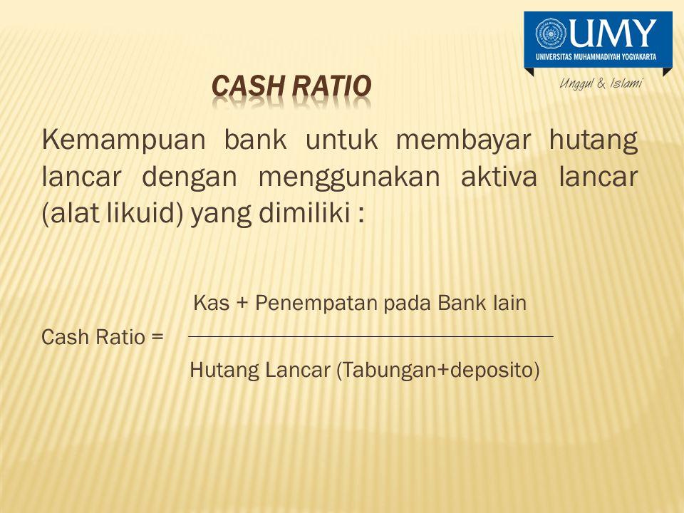 Kas + Penempatan pada Bank lain