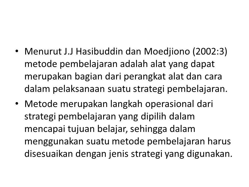 Menurut J.J Hasibuddin dan Moedjiono (2002:3) metode pembelajaran adalah alat yang dapat merupakan bagian dari perangkat alat dan cara dalam pelaksanaan suatu strategi pembelajaran.
