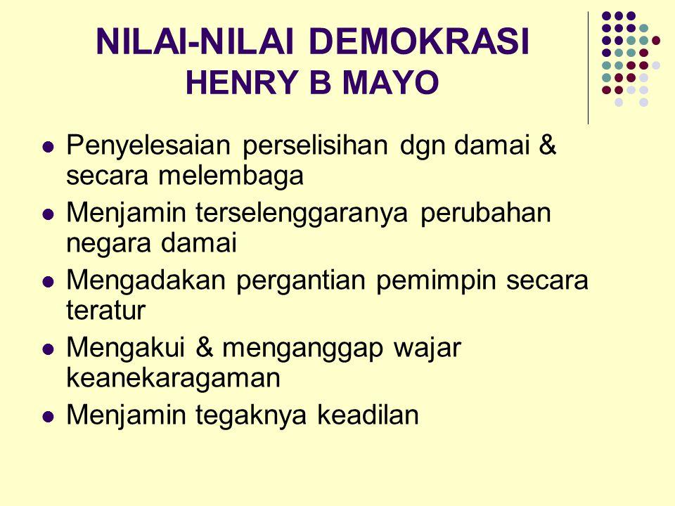 NILAI-NILAI DEMOKRASI HENRY B MAYO