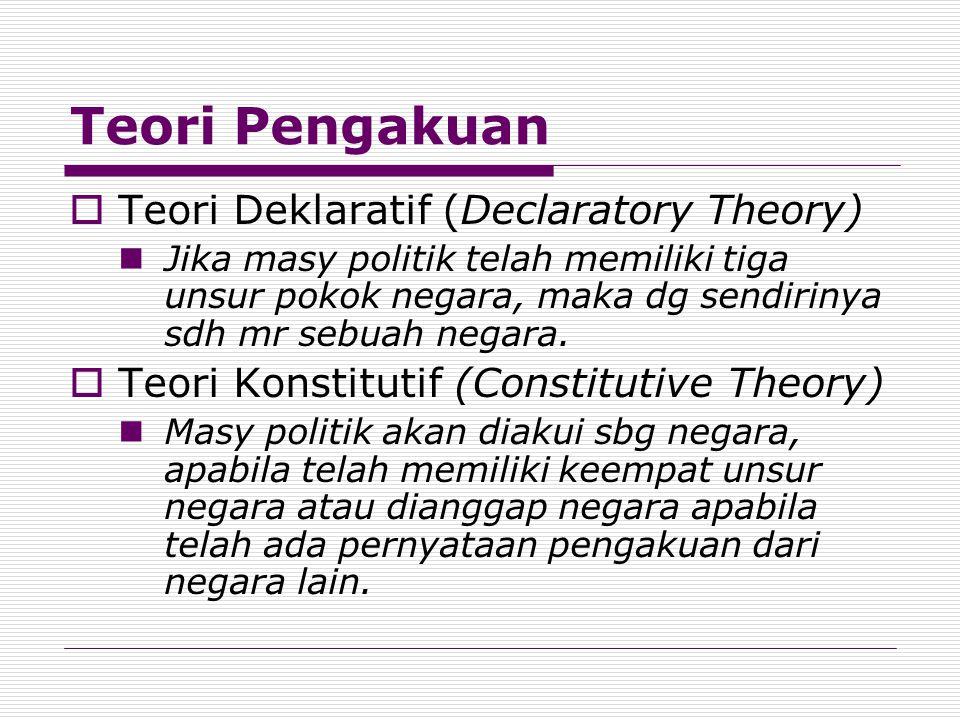 Teori Pengakuan Teori Deklaratif (Declaratory Theory)