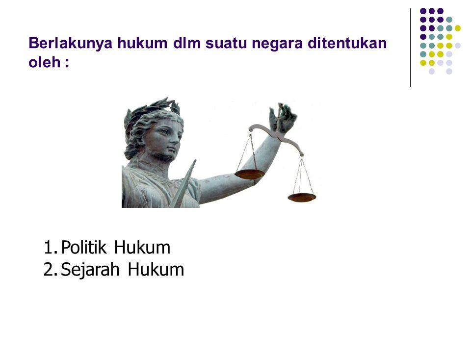 Berlakunya hukum dlm suatu negara ditentukan oleh :