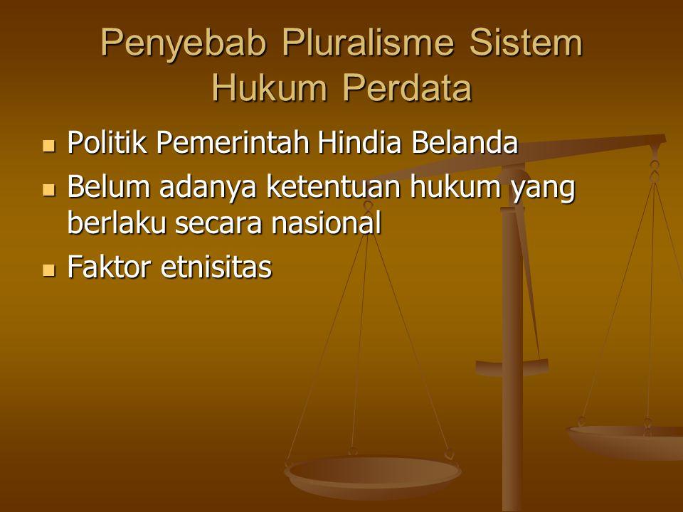 Penyebab Pluralisme Sistem Hukum Perdata