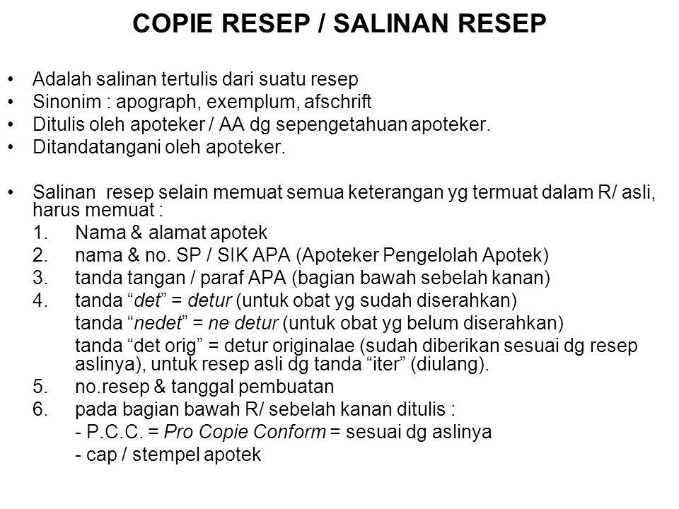 COPIE RESEP / SALINAN RESEP