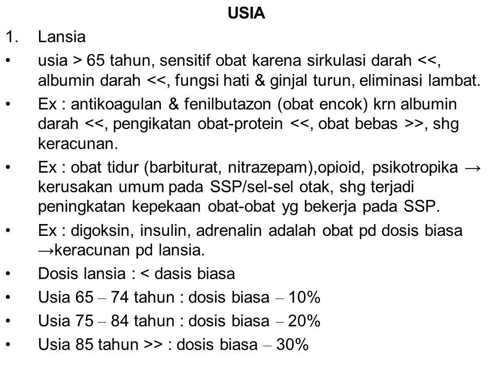 USIA Lansia. usia > 65 tahun, sensitif obat karena sirkulasi darah <<, albumin darah <<, fungsi hati & ginjal turun, eliminasi lambat.