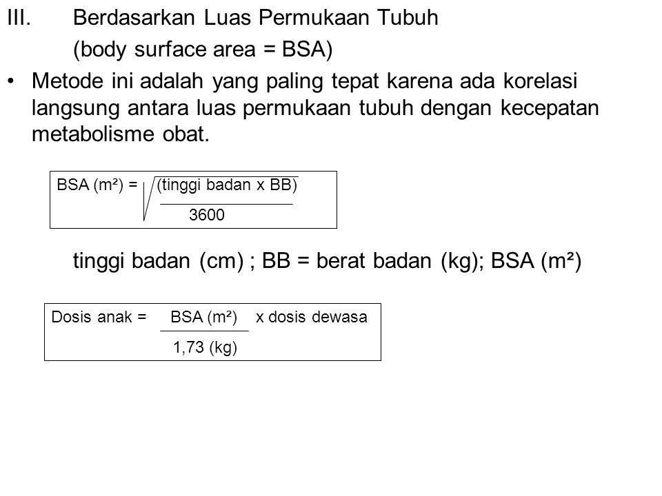 III. Berdasarkan Luas Permukaan Tubuh (body surface area = BSA)