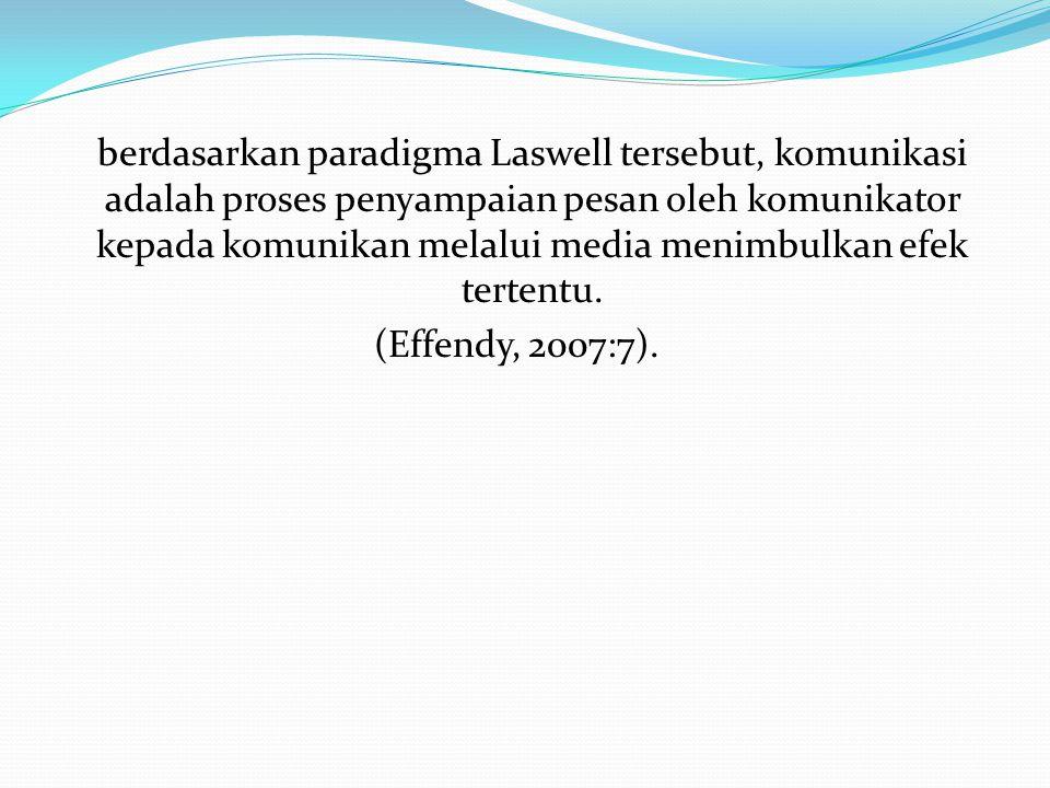 berdasarkan paradigma Laswell tersebut, komunikasi adalah proses penyampaian pesan oleh komunikator kepada komunikan melalui media menimbulkan efek tertentu.