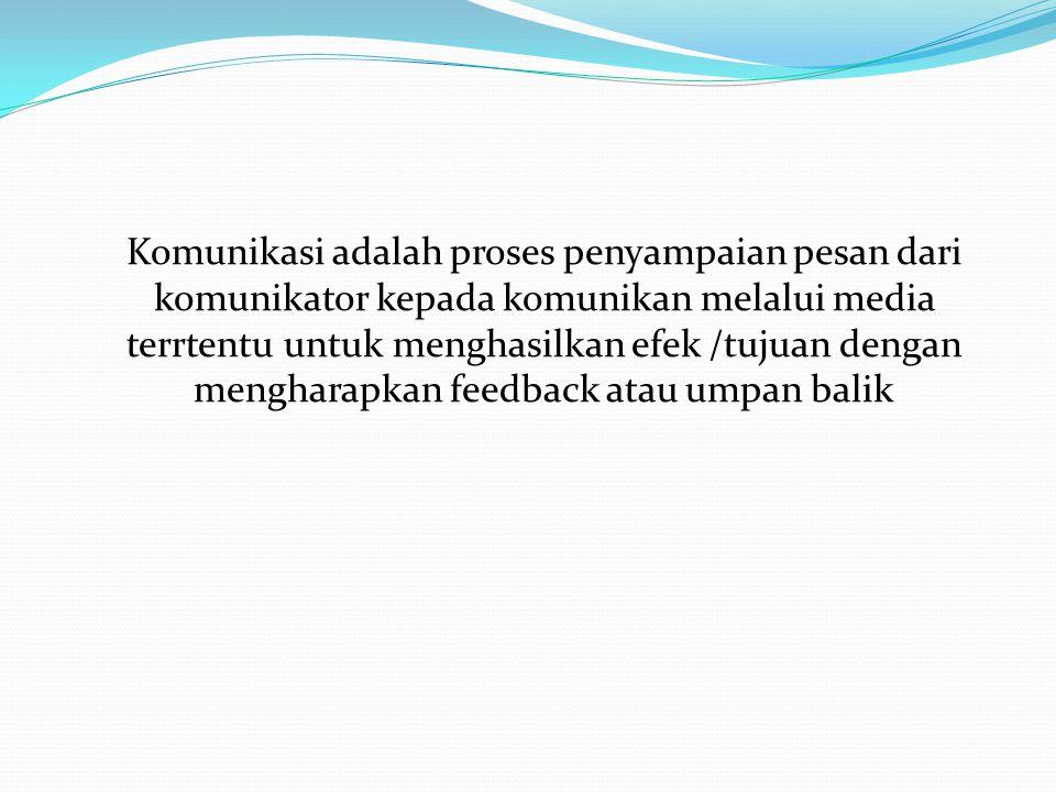 Komunikasi adalah proses penyampaian pesan dari komunikator kepada komunikan melalui media terrtentu untuk menghasilkan efek /tujuan dengan mengharapkan feedback atau umpan balik