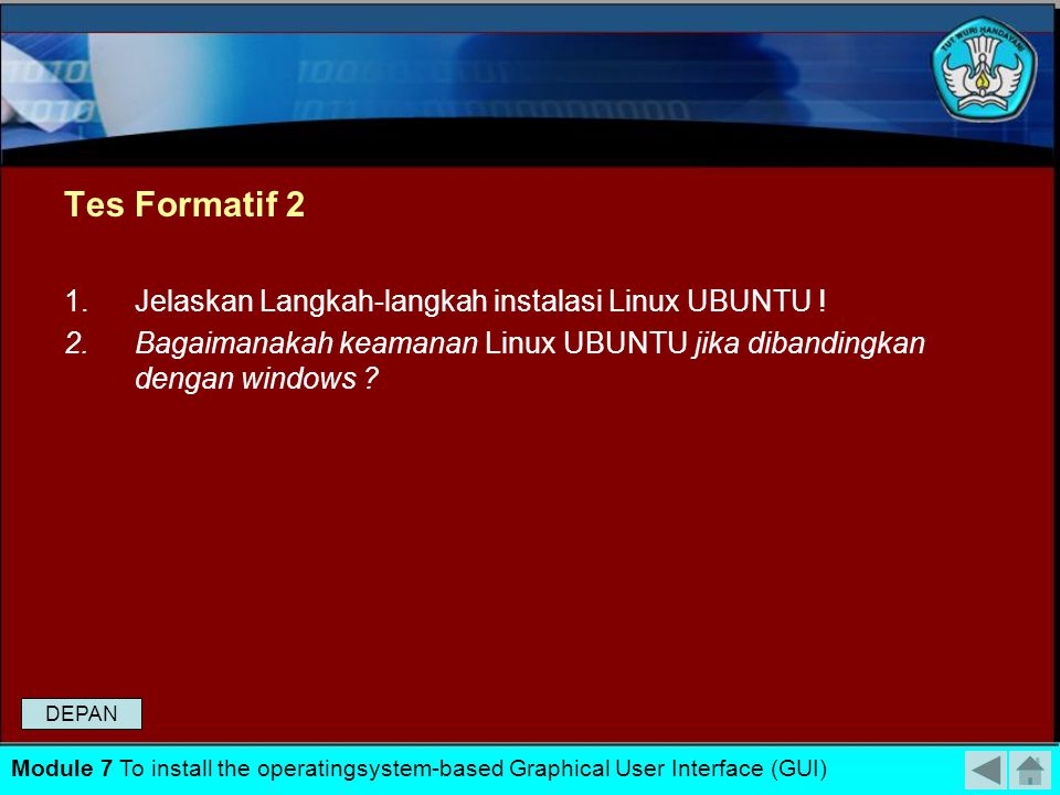 Tes Formatif 2 Jelaskan Langkah-langkah instalasi Linux UBUNTU !