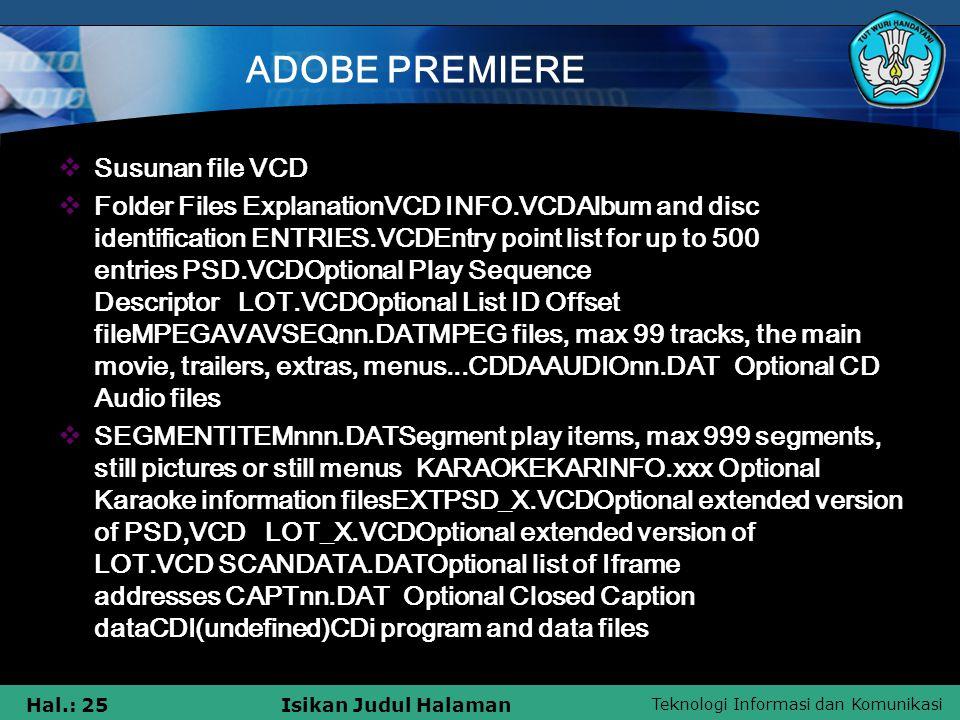 ADOBE PREMIERE Susunan file VCD