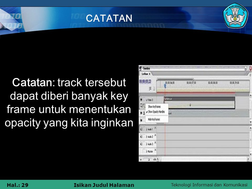CATATAN Catatan: track tersebut dapat diberi banyak key frame untuk menentukan opacity yang kita inginkan.