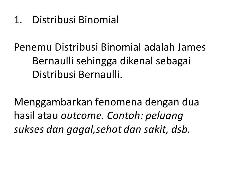 Distribusi Binomial Penemu Distribusi Binomial adalah James Bernaulli sehingga dikenal sebagai Distribusi Bernaulli.