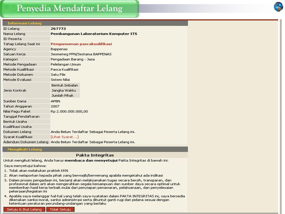 Penyedia Mendaftar Lelang