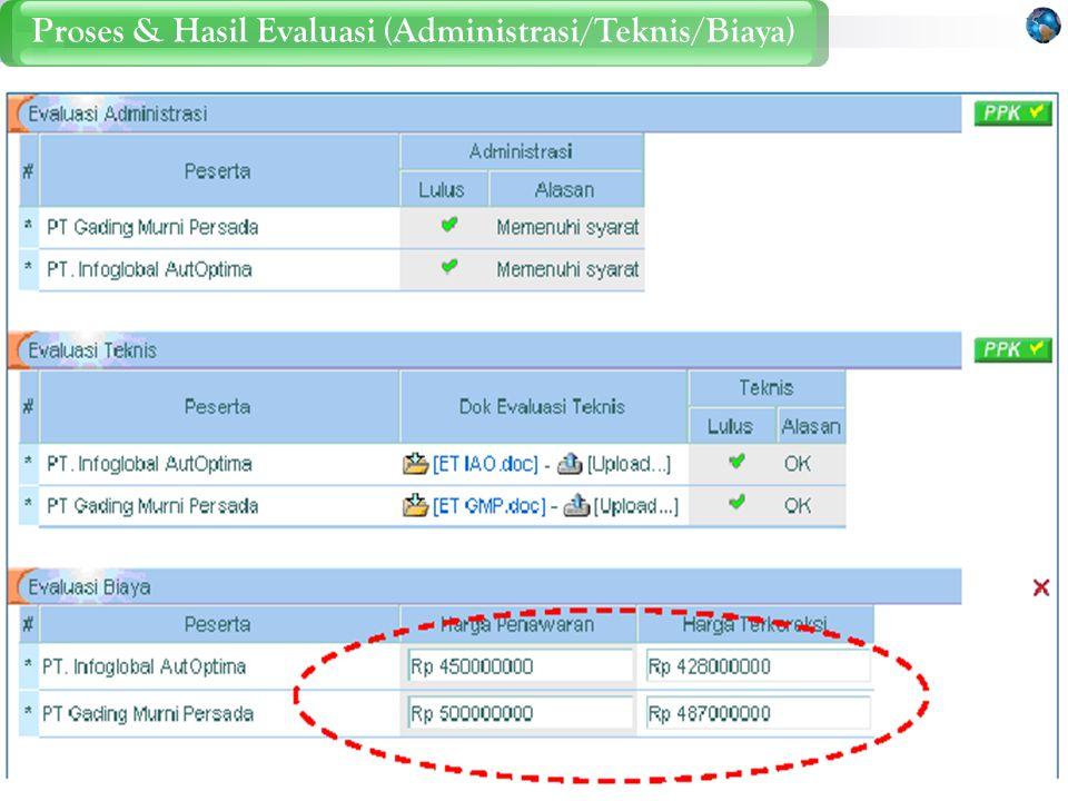 Proses & Hasil Evaluasi (Administrasi/Teknis/Biaya)