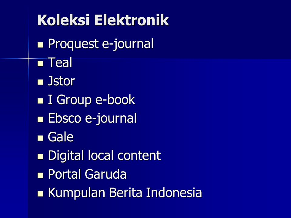 Koleksi Elektronik Proquest e-journal Teal Jstor I Group e-book