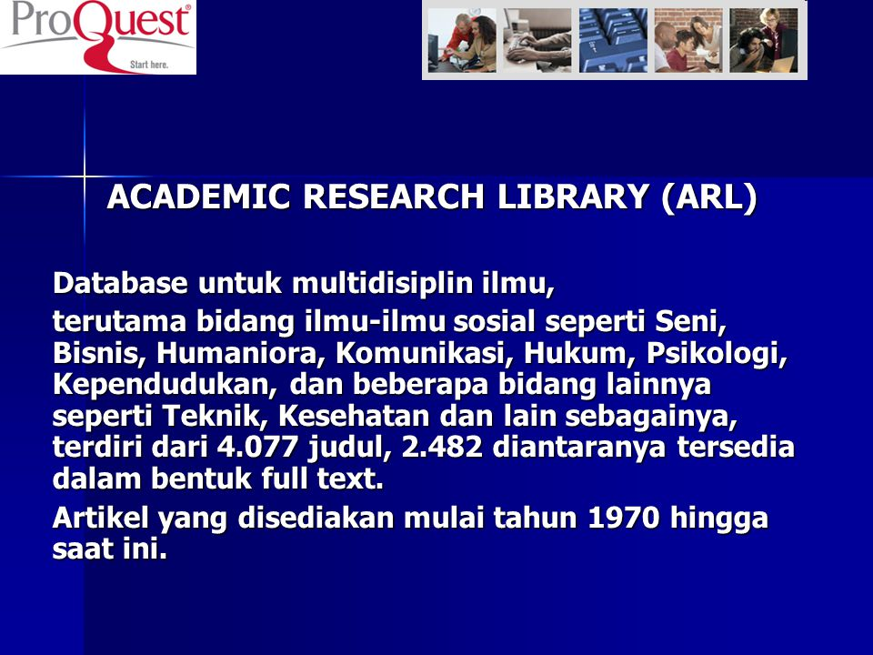 ACADEMIC RESEARCH LIBRARY (ARL)‏