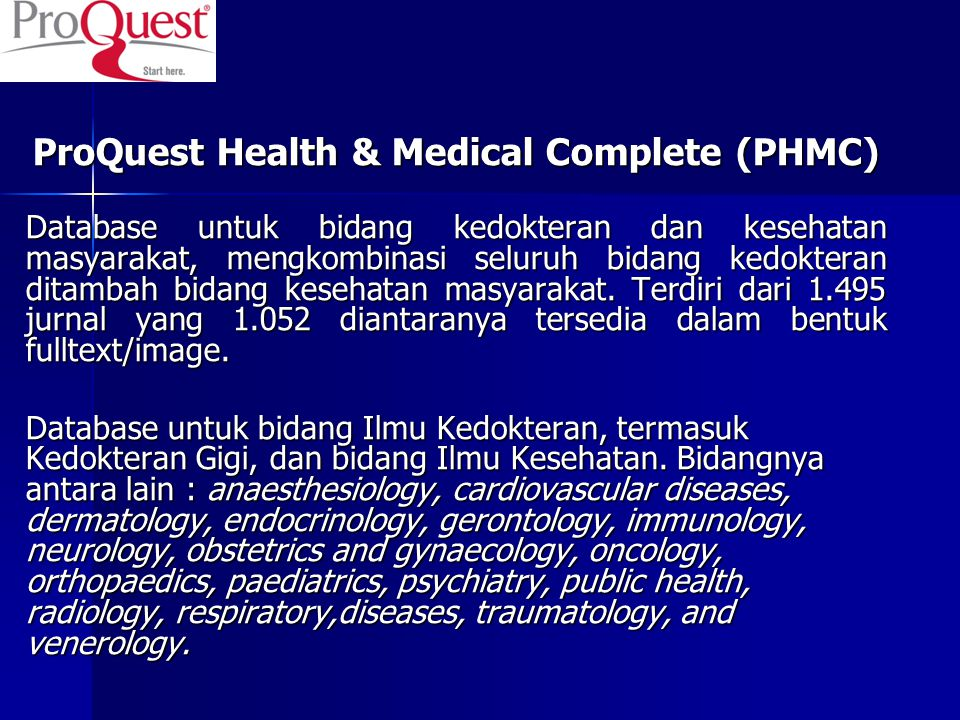 ProQuest Health & Medical Complete (PHMC)‏