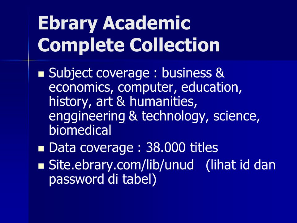 Ebrary Academic Complete Collection