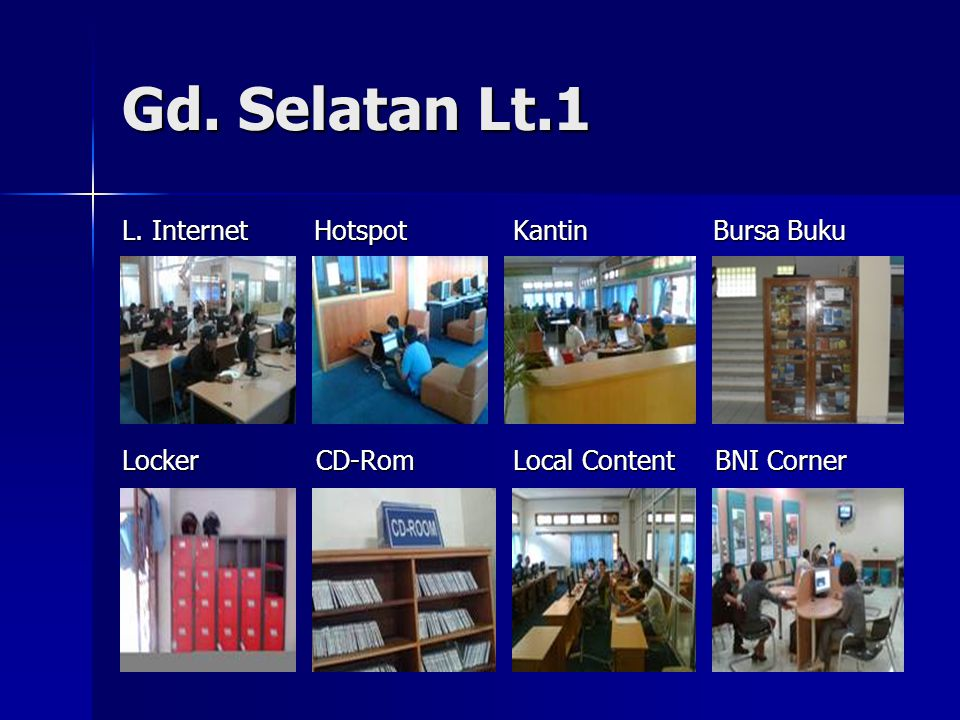 Gd. Selatan Lt.1 L. Internet Hotspot Kantin Bursa Buku