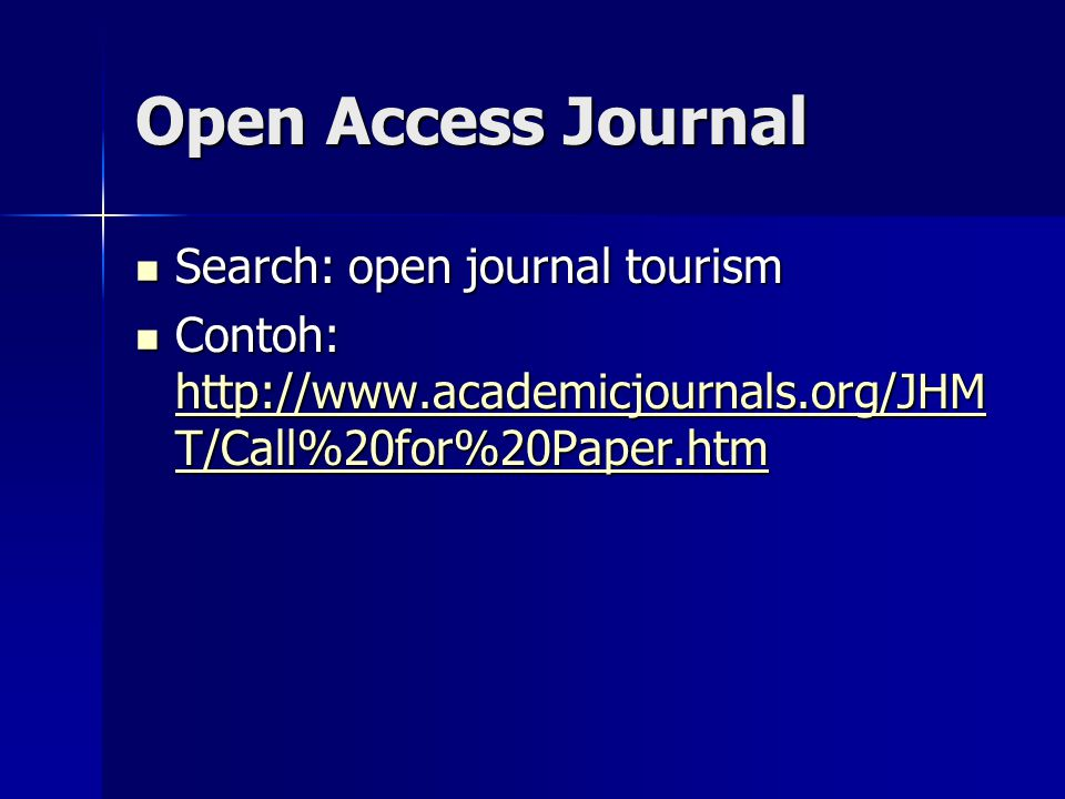 Open Access Journal Search: open journal tourism
