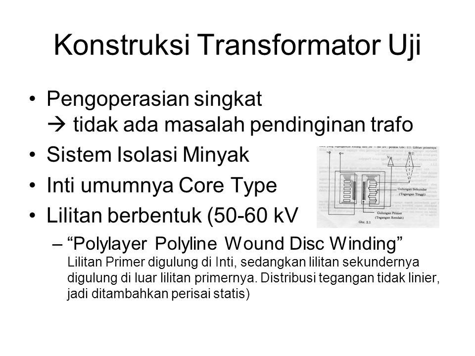 Konstruksi Transformator Uji