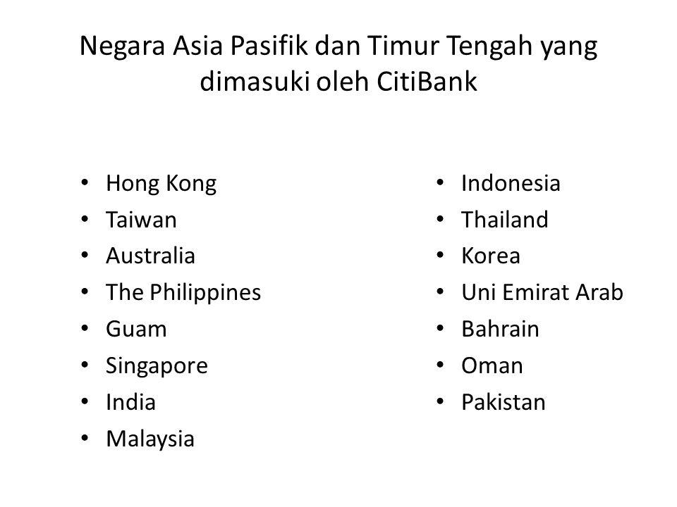 Negara Asia Pasifik dan Timur Tengah yang dimasuki oleh CitiBank