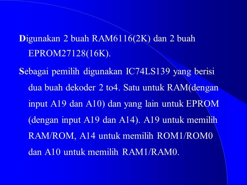 Digunakan 2 buah RAM6116(2K) dan 2 buah EPROM27128(16K).