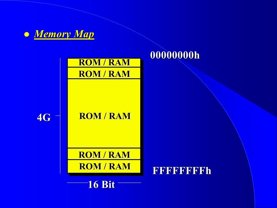 Memory Map ROM / RAM 00000000h FFFFFFFFh 4G 16 Bit