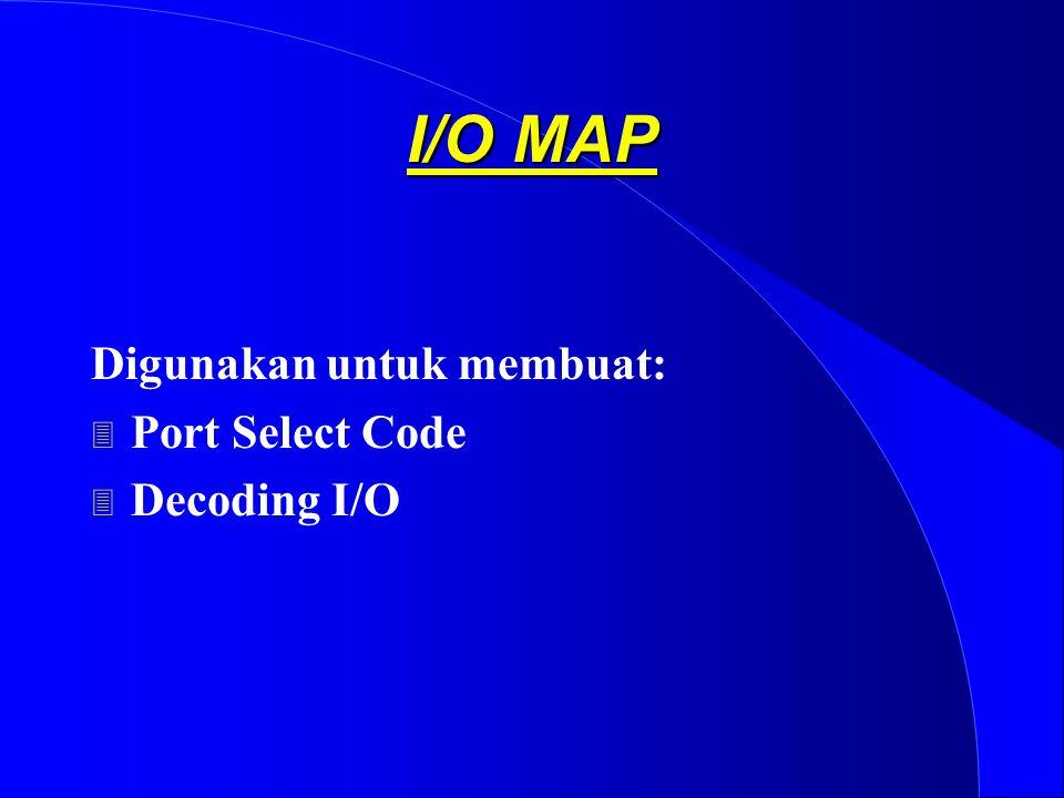I/O MAP Digunakan untuk membuat: Port Select Code Decoding I/O