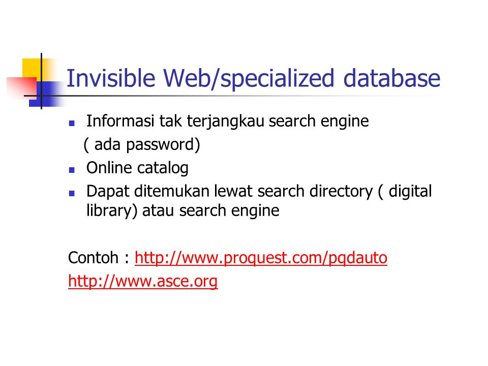 Invisible Web/specialized database