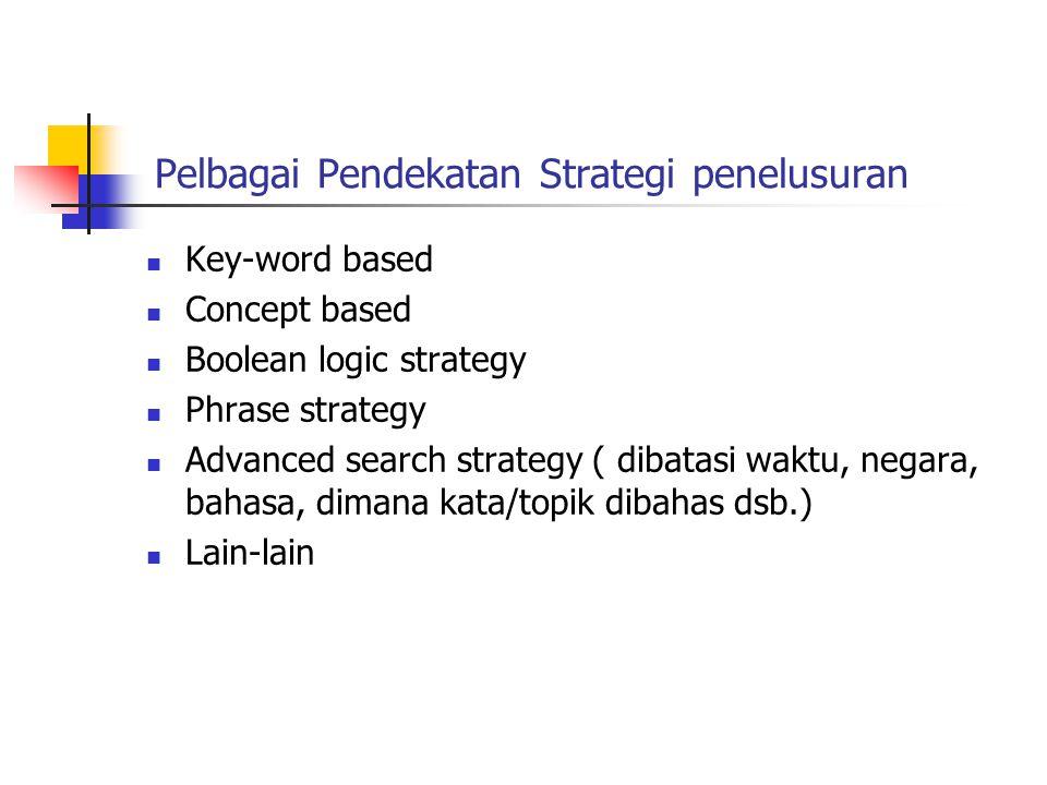 Pelbagai Pendekatan Strategi penelusuran