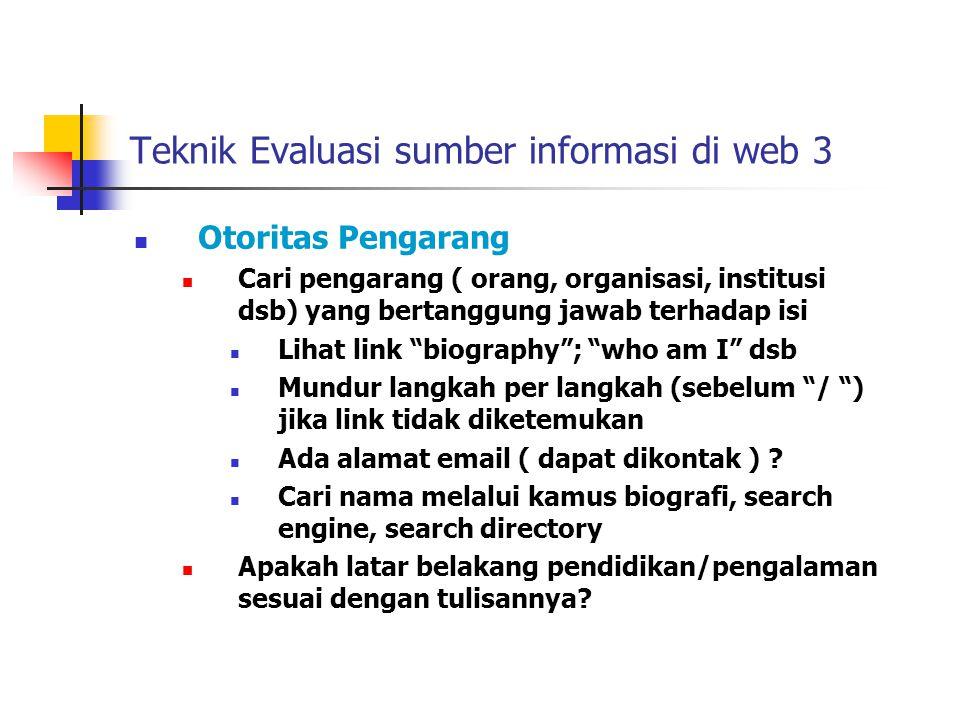 Teknik Evaluasi sumber informasi di web 3