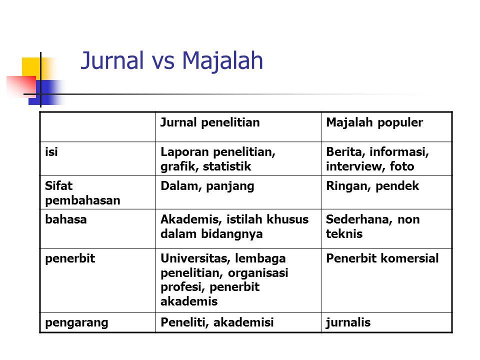 Jurnal vs Majalah Jurnal penelitian Majalah populer isi