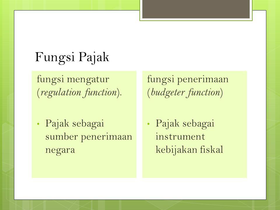 Fungsi Pajak fungsi mengatur (regulation function).