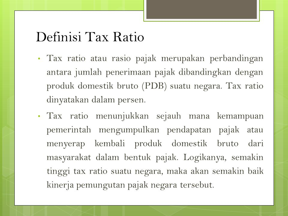 Definisi Tax Ratio