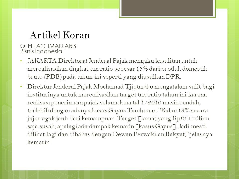 Artikel Koran OLEH ACHMAD ARIS Bisnis Indonesia.