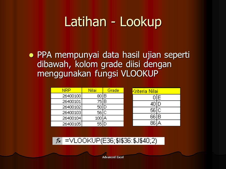 Latihan - Lookup PPA mempunyai data hasil ujian seperti dibawah, kolom grade diisi dengan menggunakan fungsi VLOOKUP.