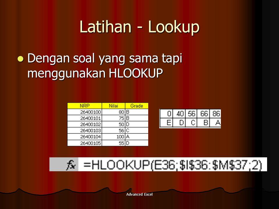 Latihan - Lookup Dengan soal yang sama tapi menggunakan HLOOKUP