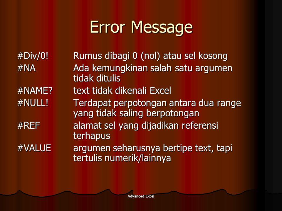 Error Message #Div/0! Rumus dibagi 0 (nol) atau sel kosong