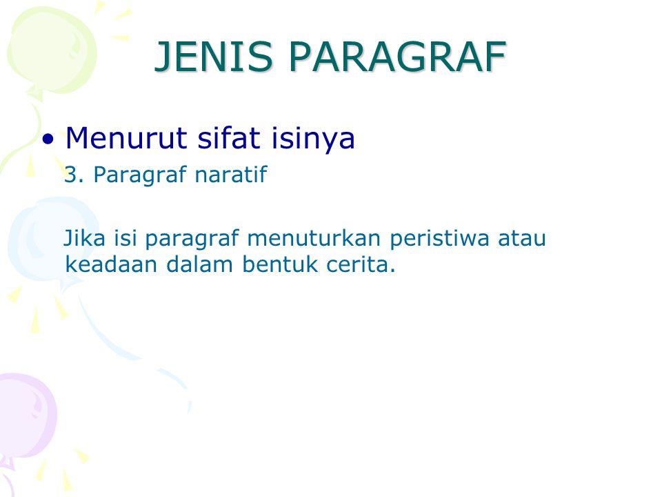 JENIS PARAGRAF Menurut sifat isinya 3. Paragraf naratif