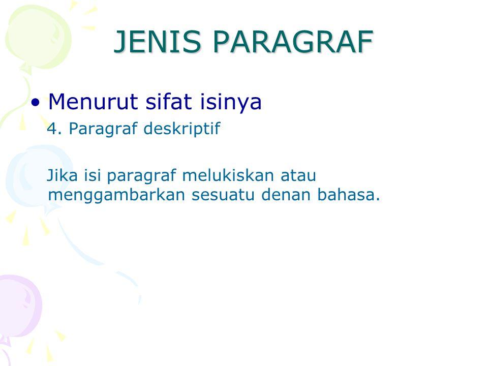 JENIS PARAGRAF Menurut sifat isinya 4. Paragraf deskriptif