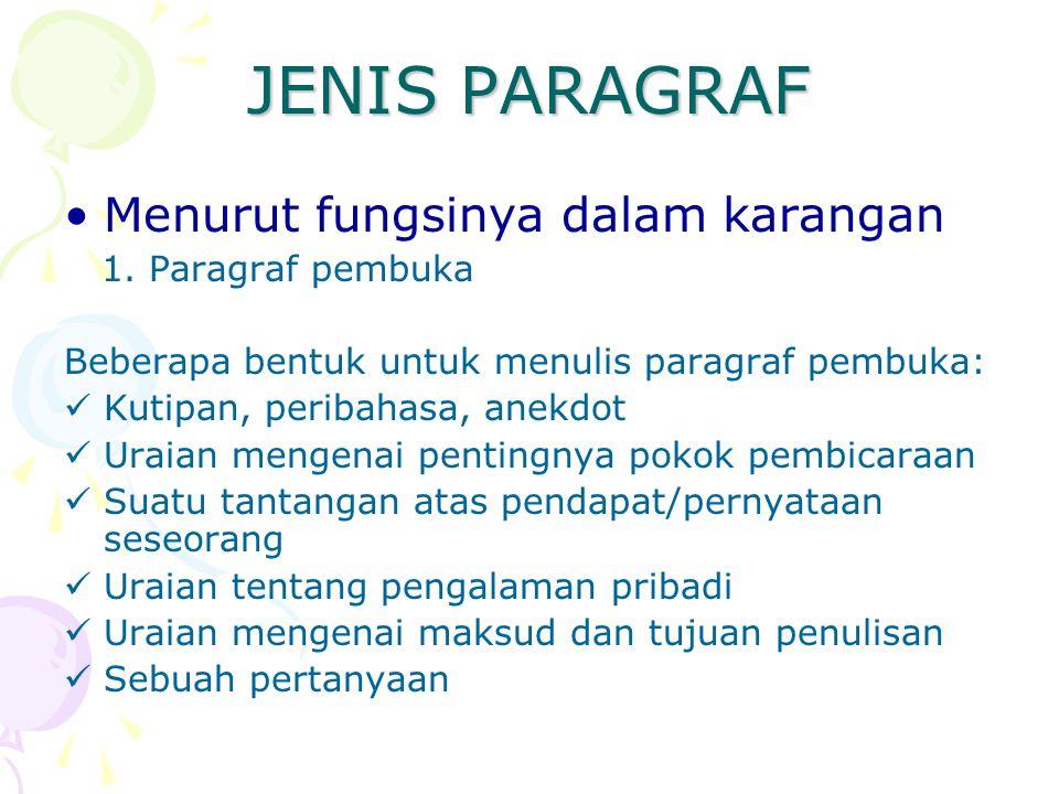 JENIS PARAGRAF Menurut fungsinya dalam karangan 1. Paragraf pembuka