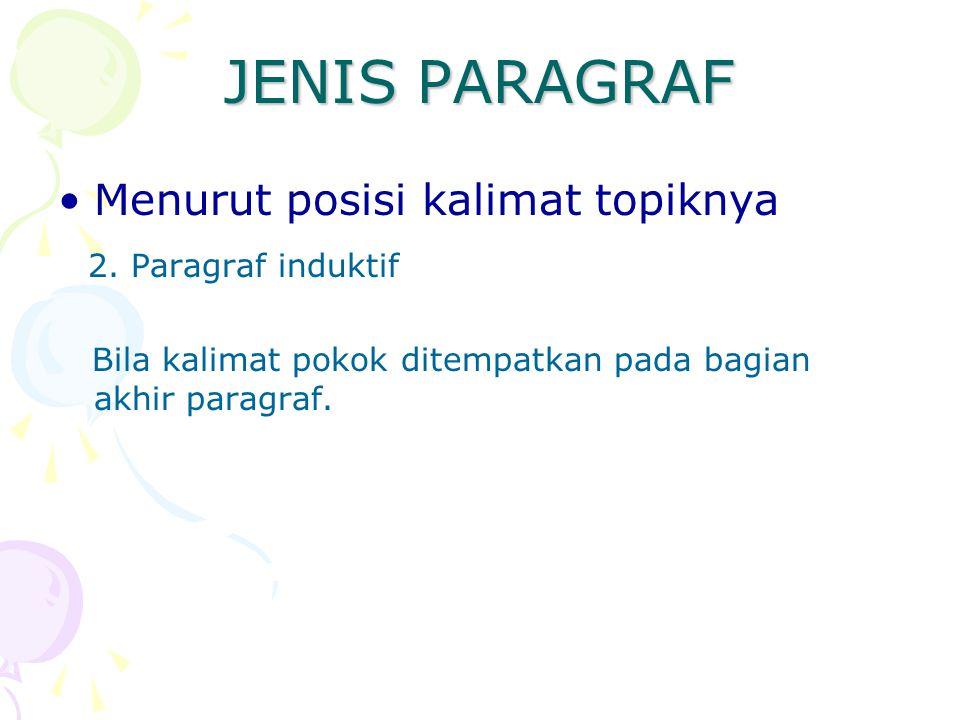JENIS PARAGRAF Menurut posisi kalimat topiknya 2. Paragraf induktif